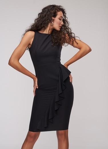 People By Fabrika Volanlı Midi Elbise Siyah